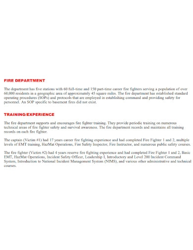 residential floor fire investigation report