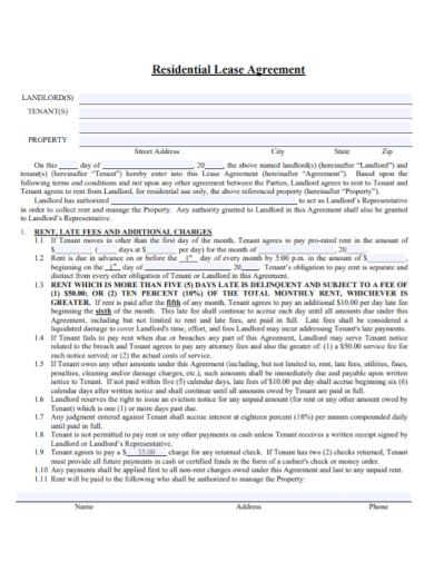 residential landlord tenant property agreement