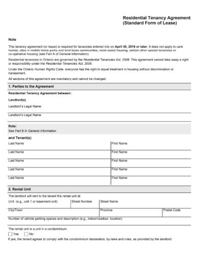 residential tenancy lease agreement