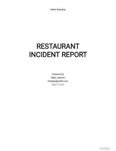 restaurant incident report sample