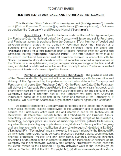 restricted stock sale and purchase agreement
