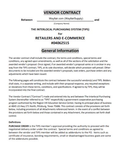 retailer vendor contract
