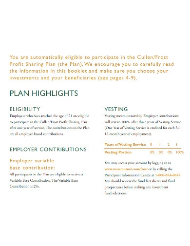 retirement profit sharing plan