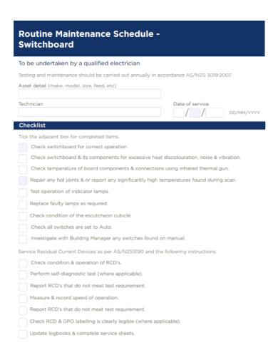 routine maintenance schedule checklist