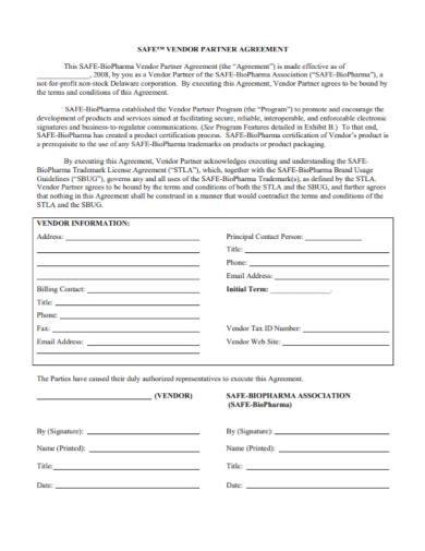 safe vendor partnership agreement