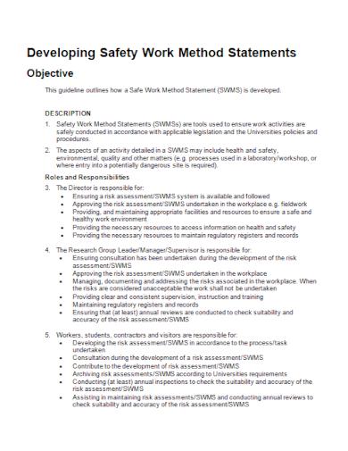 safety development work method statement