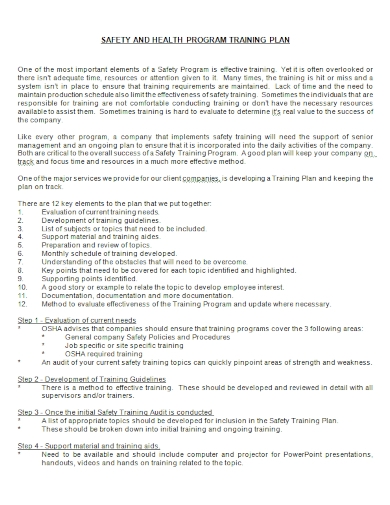 safety and health program training plan