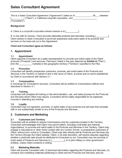 sales and marketing consultant agreement