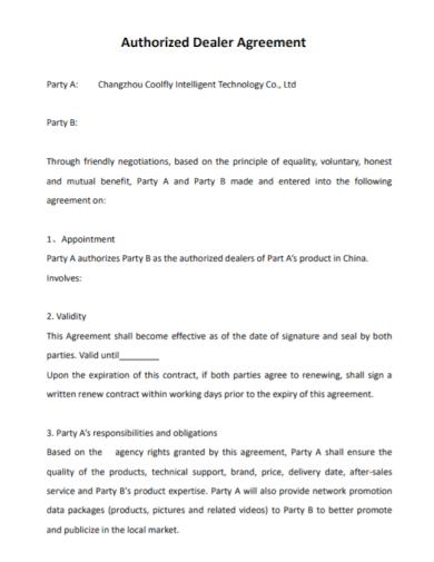 sample authorized dealer agreement