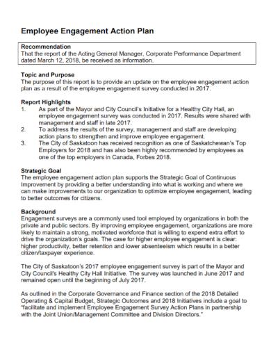 sample employee engagement action plan