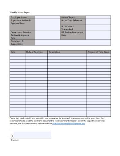 sample employee weekly status report
