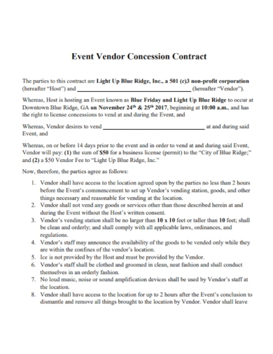 sample event vendor concession contract