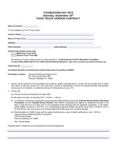 sample food truck vendor contract