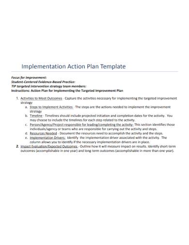 sample implementation action plan