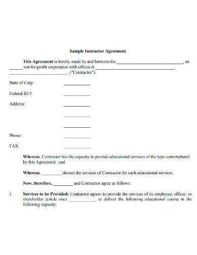 sample instructor agreement