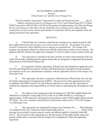 sample real estate development agreement