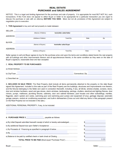 sample real estate purchase and sale agreement