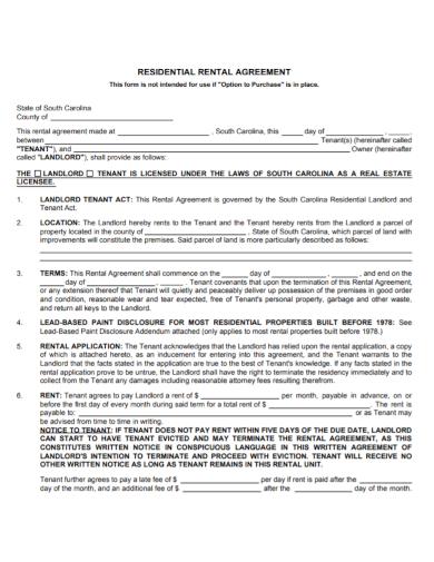 sample residential landlord tenant rental agreement