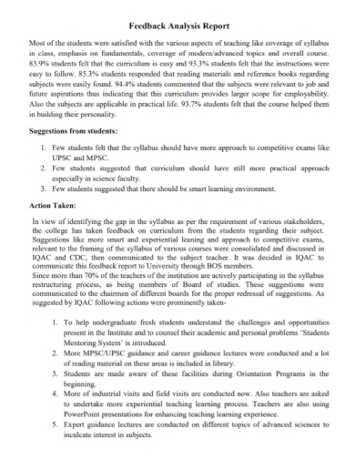 sample student feedback analysis report