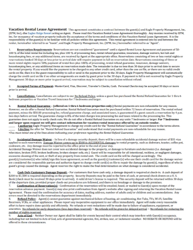 sample vacation rental lease agreement