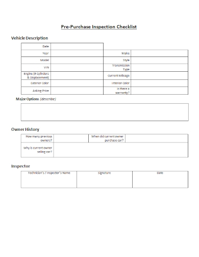 sample vehicle pre purchase inspection checklist