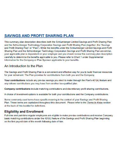 savings and profit sharing plan