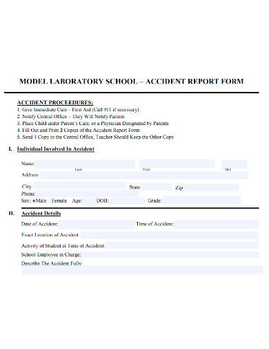 school accident report form sample