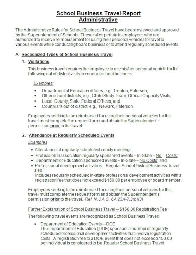 school business travel report