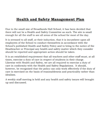 school health and safety management plan