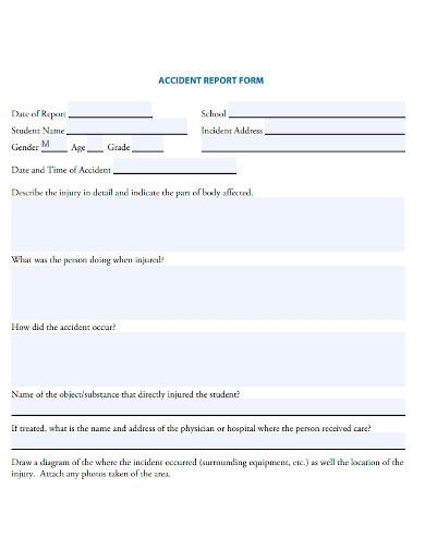 school student accident report forms