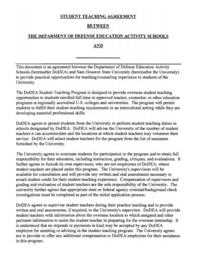 school student teaching agreement