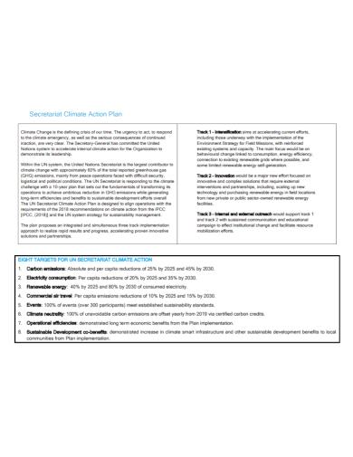 secretariat climate action plan