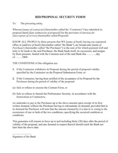 security bid proposal form