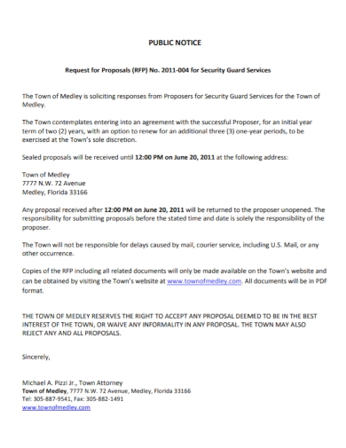 security guard request for proposal