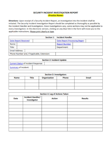 security incident response investigation report