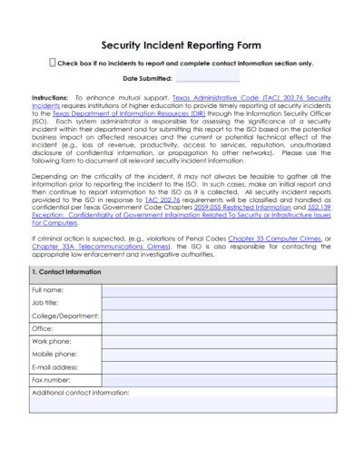 security incident response reporting form