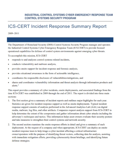 security incident response summary report