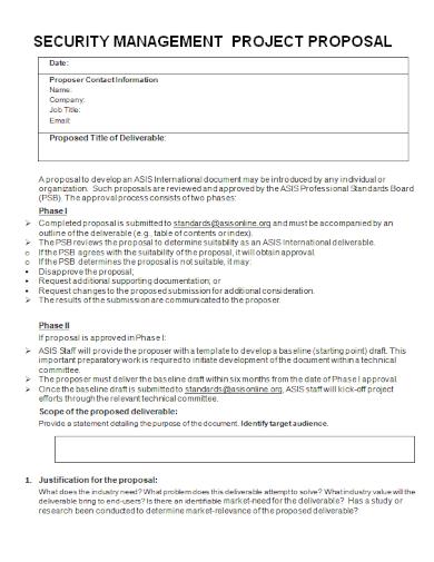 security management project proposal
