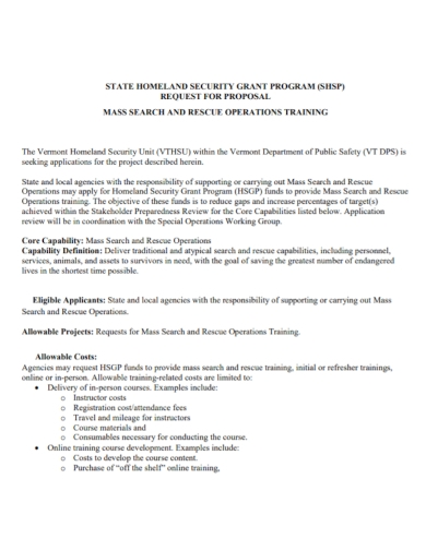 security operations training grant proposal