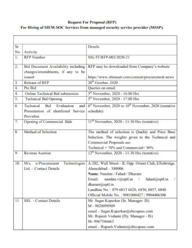 security service bid request for proposal