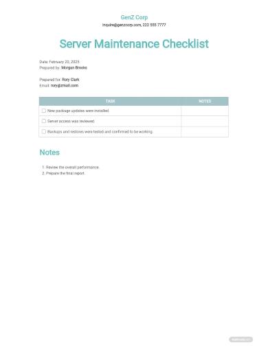 server maintenance checklist template