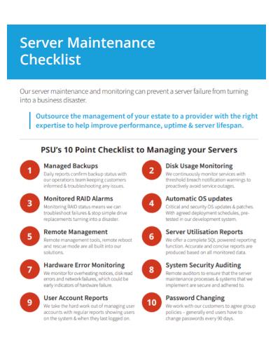 server maintenance checklist1