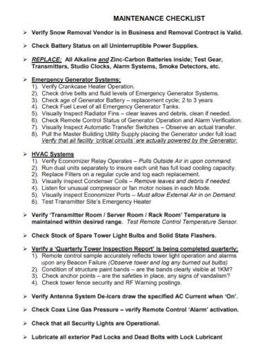 server room maintenance checklist