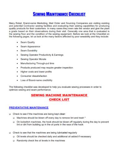 sewing machine maintenance checklist