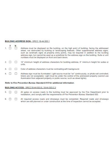 shell building inspection checklist