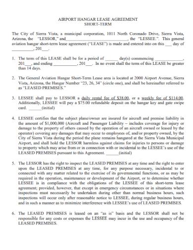 short term hangar lease agreement