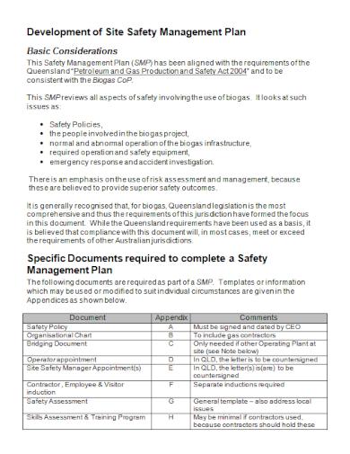 site development safety management plan