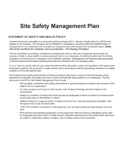 site safety management plan