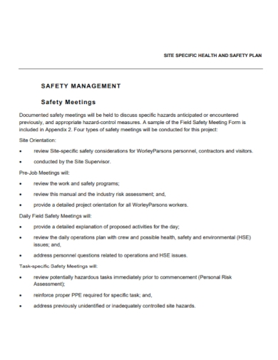 site specific health and safety management plan