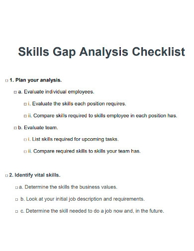 skills gap analysis checklist